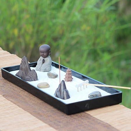 Hjyi Meditación Zen Garden,Jardín Zen Meditación Estatua Buda Regalos Feng Shui Aliviar El Estrés Y La Tensión Estilo Japonés Arena Seca Pequeña Mesa De Arena Casa Mesa De Té Estudio Adornos: Amazon.es: