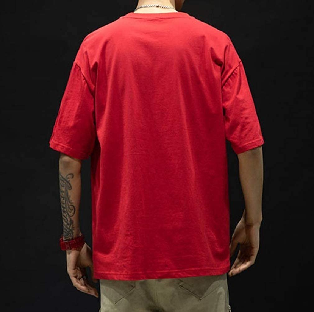 Beeatree Men Baggy Plus Size Short Sleeves Active Solid Color T Shirts