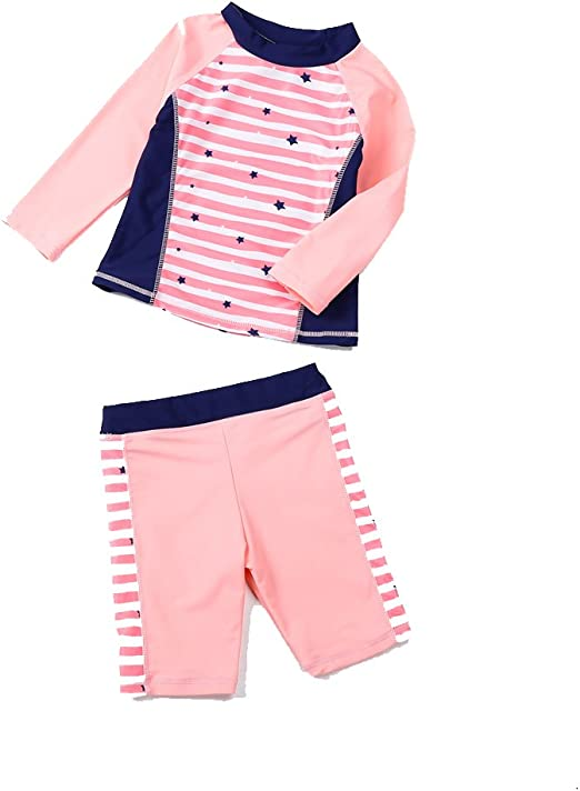 Merrybay Toddler Boy and Girls Swimsuit 3 Piece With Stars and Stripes