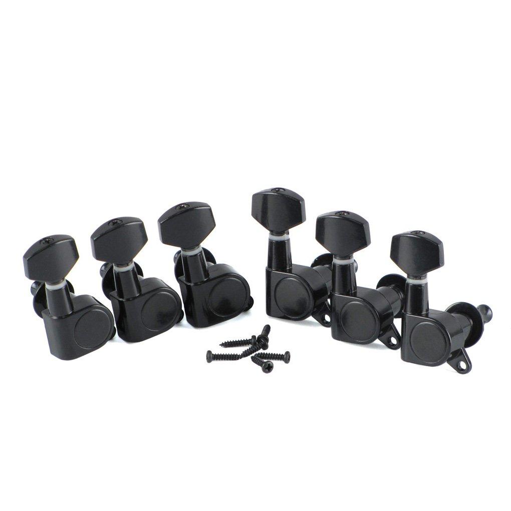 IKN Clavijas de afinación (1R de sellado, para guitarra eléctrica) Negro iknmusic DGXZ-03