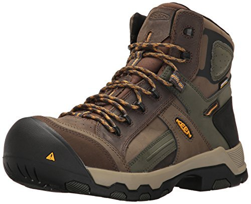 KEEN Utility Mens Davenport Mid All Leather Waterproof Industrial and Construction Shoe