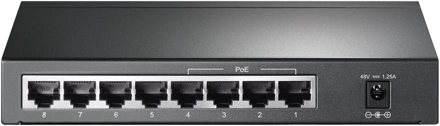 TP-Link 8 Port Poe Gigabit Switch | 4 Port Poe 55W | 802.3AF Compliant | Shielded Ports | Traffic Optimization | Plug and Play | Sturdy Metal (TL-SG1008P),Black