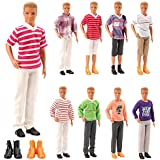 Mylass Lot 8 Items Clothes for Ken Doll EU CE-EN71 Certified Include 3 Sets Casual Wear + 3 Pcs Dolls Pants +2 Shoes