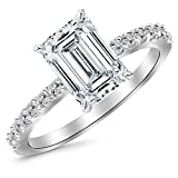 Image of 0.63 Cttw 14K White Gold Emerald Cut Classic Side Stone Pave Set Diamond Engagement Ring with a 0.33 Carat H-I Color VS1-VS2 Clarity Center
