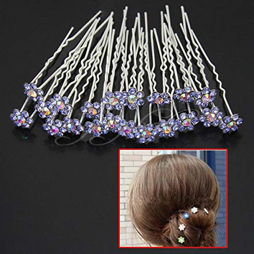 Elegant 20pcs Wedding Bridal Blue Crystal Rhinestone Flower Hair Pins Clips ()