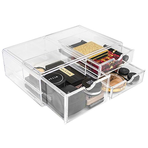 Double Duty Bronzer - Sorbus Acrylic Cosmetics Makeup and Jewelry Storage Case X-Large Display Sets -Interlocking Scoop Drawers Create Your Own Makeup Counter -Stackable and Interchangeable