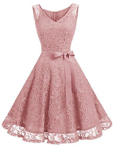 Dressystar Cocktail Party Dress Sleeveless Lace See-Through Hemline Blush
