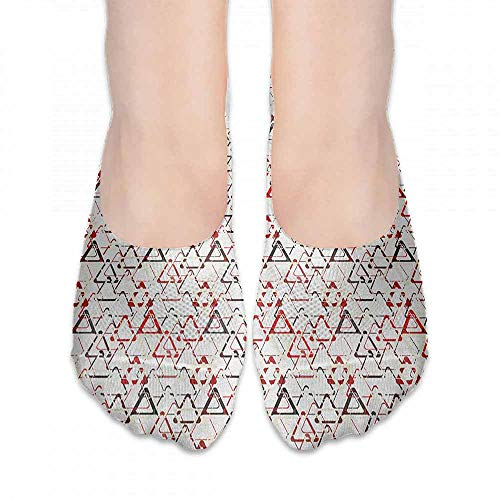 Socks Cute Abstract,Overlapping Round Edged Triangles Pattern Pyramid Contemporary Art Design, Red White Black,socks for flats