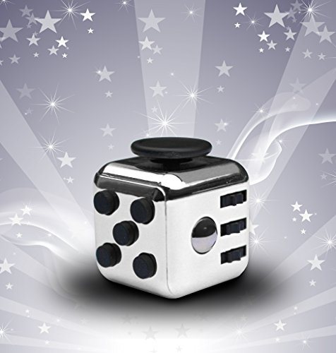 ORIGINAL LUXURY SILVER Fidget Cube | Anti-Stress/Anti-anxiety Toy for Kids and Adults. Promoting Focus, Attention and a Soothing Calm in all Aspects of Life. A Great Gift for All - Class First International Shipping