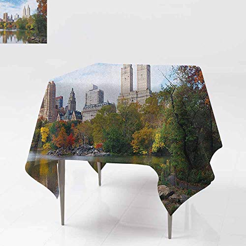 SONGDAYONE Stylish Square Tablecloth City Manhattan Central Park Panorama in Autumn Scenic Lake View Colorful Trees Reflection Easy to Care Multicolor W54 xL54]()