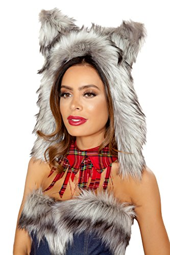 Adult Women's Big Bad Wolf Fur Hood Hat Party Party Costume Accessory