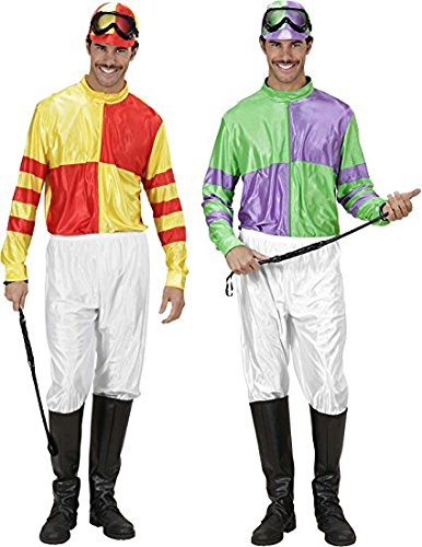Jockey Red/yell & Grn/ppl Costume Large For Horse Riding Sport Fancy Dress