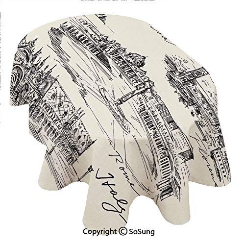 (Sketchy Oval Polyester Tablecloth,Travel the World Themed Historical Italian Landmarks Venice Rome Florence Pisa Decorative,Dining Room Kitchen Rectangular Table Cover, 60 x 120 inches,Black Cream)
