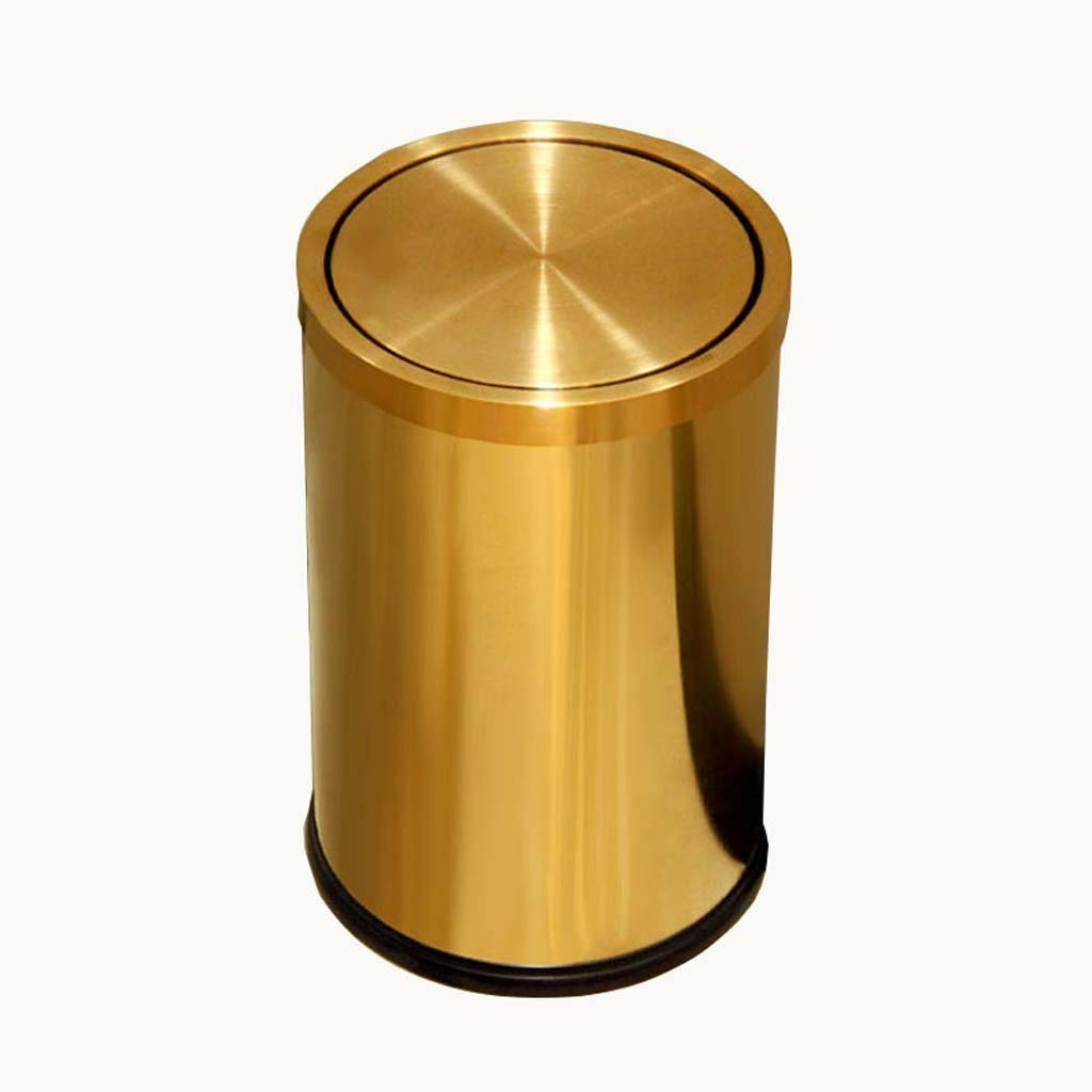 Ali Stainless Steel Shaking Household Kitchen Bathroom 9L Trash Can ( Color : Gold ) Ali Lamps