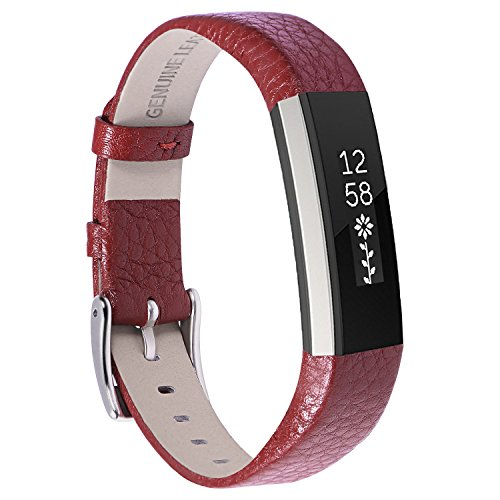 Henoda Replacemnt Leather Bands Compatible with Fitbit Alta/Fitbit Alta HR, Wine Red Classic Genuine Leather Wristband, Small Large, No Tracker