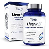 1MD LiverMD - Liver Cleanse Supplement   Siliphos Milk Thistle Extract - Highly Bioavailable, Clinically Studied for Liver Detox   60 Capsules