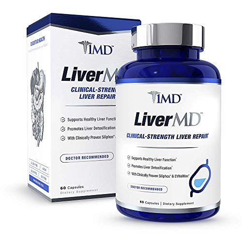 1MD LiverMD - Liver Cleanse Supplement | Milk Thistle Extract - Highly Bioavailable, Clinically Studied for Liver Detox | 60 Capsules