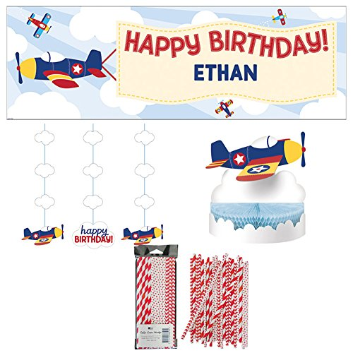 Lil' Flyer Airplane Birthday Party Supplies Party Pack | 24 Paper Straws, Birthday Banner, Hanging Cutouts, and Honeycomb Birthday Centerpiece | Airplane Party Birthday Decor