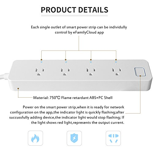 LINGANZH Smart Wi-Fi Power Strip Surge Protector Extension Socket, Individually Control Timing Function with iOS Android Smartphone Tablet, with Amazon Alexa and Google Home (White) by LINGANZH (Image #4)
