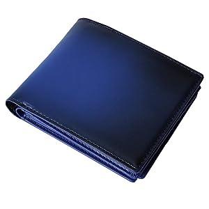[Mr.CROWN] 財布 メンズ 二つ折り ヌメ革 グラデーション 本革 一流の革職人が作る (ブルー)