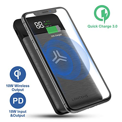 Wireless Portable Charger, Lontems 10000mAh External Battery Pack with QC 3.0 and 18W Power Delivery LED Displaly 10W Fast Qi Wireless Power Bank Compatible with Samsung, iPhone, iPad, and More