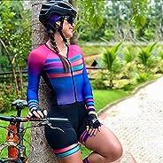 Womens Cycling Jersey Set Long Sleeve,9D Gel Padded Short Pants Full Zip Riding UV Protection