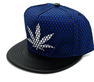 Lucky 7 Headwear Hat - Marijuana Weed Leaf Snapback Flat Bill Cap Blue