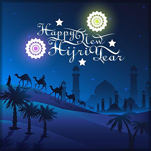 AOFOTO 10x10ft Happy Hijri New Year Backdrop Datura Flower Mosque Temple Silhouette Pilgrim Camels in Desert Background Photo Studio Props Religion Muslem Islamic Holiday Decoration Vinyl
