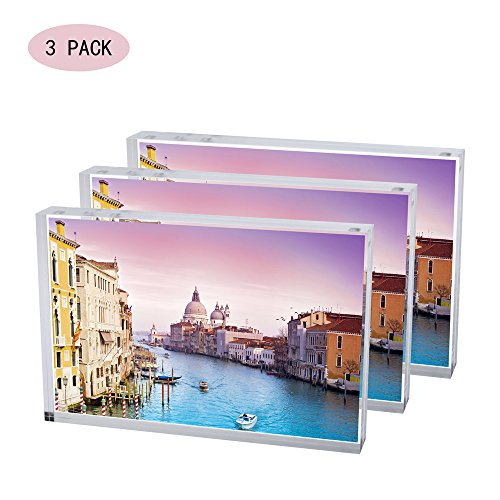 Display4top Acrylic Magnet Photo Frame Double Sided Clear Picture Frame (3pack 5x7'') by Display4top