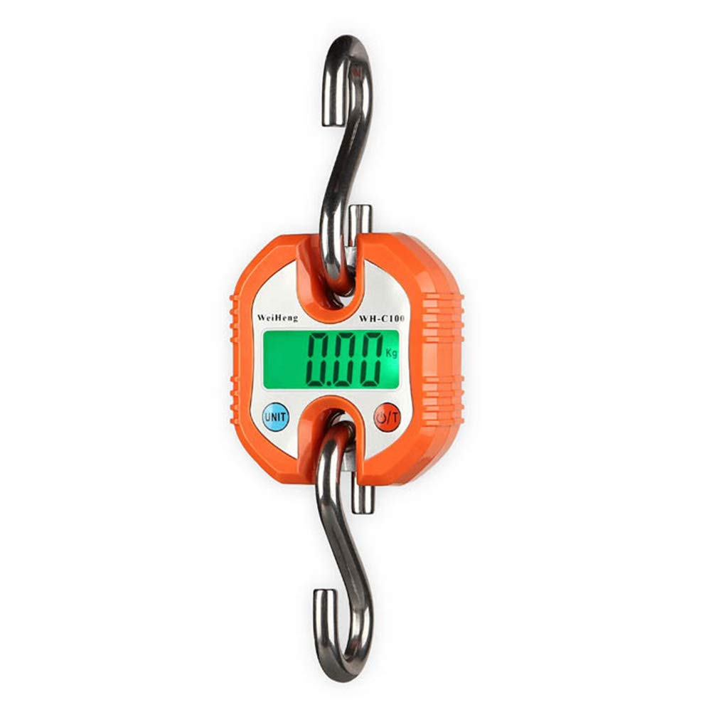 AJH Fishing Scale 150kg Backlit LCD Screen Portable Electronic Balance Digital Electronic Fish Luggage with Digital LCD Display, Orange by AJH