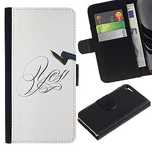 Paccase / Billetera de Cuero Caso del tirón Titular de la tarjeta Carcasa Funda para - Say Yes - Apple Iphone 5 / 5S