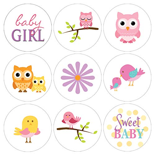 Owl and Tweet Pink Woodland Girl Baby Shower Favor Labels | 216 Stickers ()