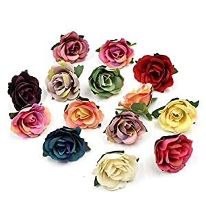 Fake Flower Heads Artificial Rose Tea Silk Flower Heads Small Multicolor Scrapbooking Flower for Party Festival Decor Home Wedding Party & Wedding Car Decoration 30pcs (Colorful) 68