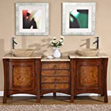 Bathroom Vanity 60 Inch Silkroad Exclusive Travertine Stone Top Modern Double Sink Vessel Bathroom Vanity, 72-Inch