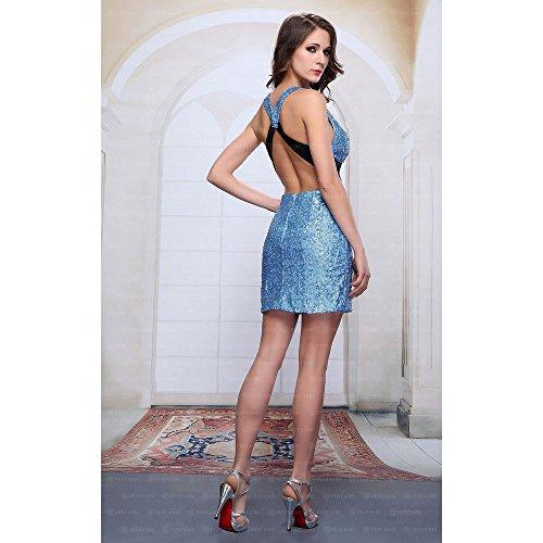Design Festamo bei Damen Blau Pailletten Kleid Mini Ital Für 7Sqxn0ZSwr