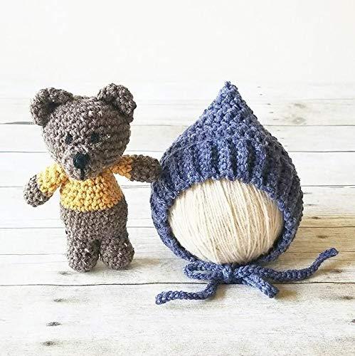30d39a881 Amazon.com: Crochet Pixie Bonnet Hat Beanie Teddy Bear Stuffie Set ...