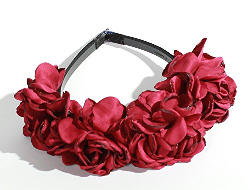 Satin Burgundy Red Rose Petal Flower Crown Hard Plastic Headband with Teeth Winter Color for Girls