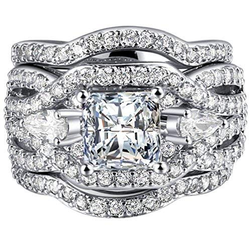 White Gold Plated Women/'s Wedding Engagement Ring Princess CZ Bride Promise Ring