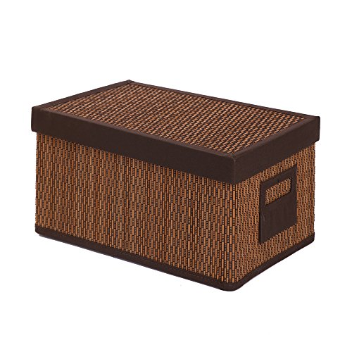 Bamboo Rectangular Folding Storage Baskets and Bins with Lids,Kingwillow, (Small:11.02