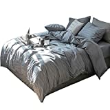 HIGHBUY Grey Cotton Bedding Duvet Cover Set Queen 3 PC Luxury Soft Geometric Stripe Pattern Bedding Collections Lightweight Soft Full Bed Men Boys Comforter Cover with Zipper Closure Corner Ties