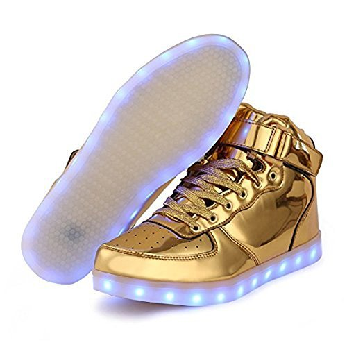 luckfugui Men Women boy Girl High Top USB LED Light Shoes Flashing Sneakers Kjgold43