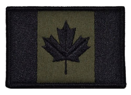 Canadian Flag Canada Maple Leaf 2x3 Morale Patch - Olive Drab (Canada Flag Velcro)