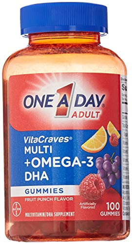 Omega Plus Gummies 3 - One A Day VitaCraves Multivitamin Gummies Plus Omega-3 DHA, 100 Count