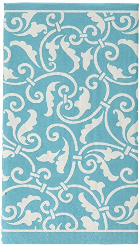 Amscan Ornamental Scroll Guest Paper Towels , 192 Ct.,  Carribbean Blue ,  8