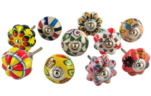 APEX Set of 10 Multicolor hand painted ceramic pumpkin knobs cabinet drawer handles pulls (Best Painted Pumpkin Ideas)