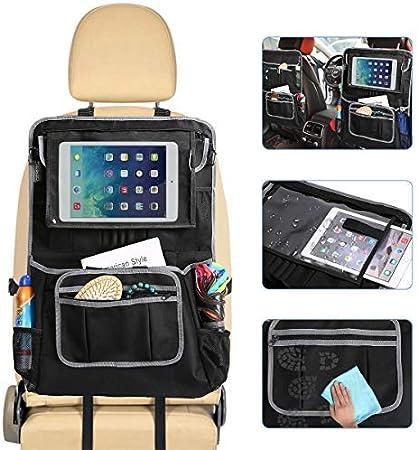Gemitto Auto Rückenlehnenschutz Auto Organizer Für Baby Kinder Spielzeug Lagerung Mit Große Taschen Und Durchsichtigem Ipad 600d Oxford Tuch Für Zeitschriften Papierhandtücher 61 X 43cm Auto