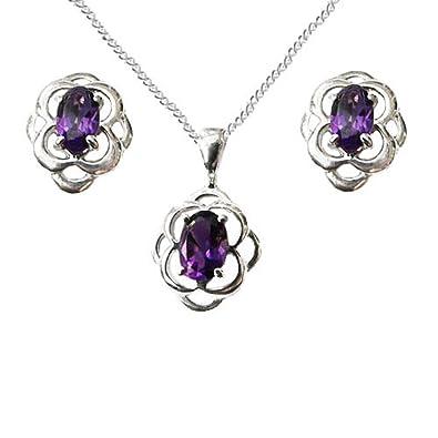 925 Sterling Silver Amethyst Oval Fishhook Earrings - February Birthstone - Gift Boxed hwalc0DR