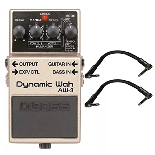 (Boss AW-3 Dynamic Wah and 2 Roland Black Series 6 inch Patch Cables)