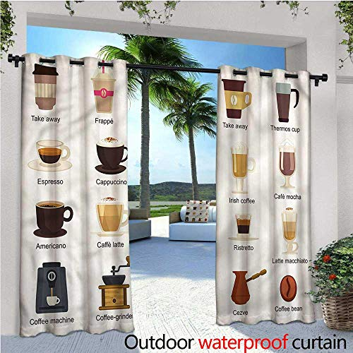 - warmfamily Coffee Patio Curtains Coffee Types Mocha Latte Outdoor Curtain for Patio,Outdoor Patio Curtains W84 x L108