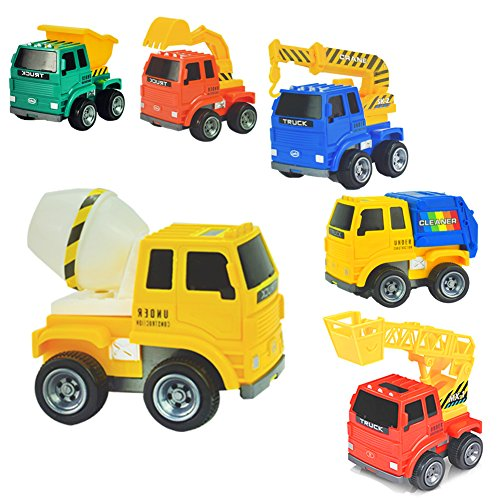 AMGlobal Push and Go Friction Powered Car Toys, 6 Pcs Construction Vehicle, Fire engine, Crane, Mixer, Excavator, Dump, Truck, Educational Toy For Kids Children For Fun - Friction Fire Engine